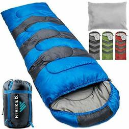 HiHiker Camping Sleeping Bag + Travel Pillow w/Compact Compr