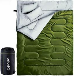 Double Sleeping Bag with 2 Camping Pillows, Waterproof Light
