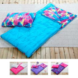 Girls Sleeping Bag and Pillow Cover, Fleece Lined Indoor Out