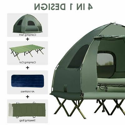 2-Person Compact Portable Pop-Up Tent/Camping Cot w/ Air Mat