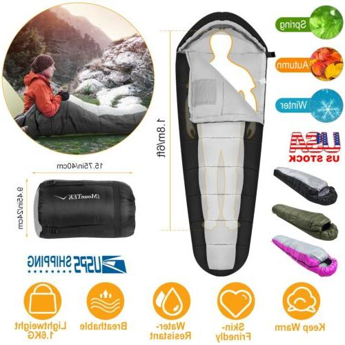 5-10 ℃ Mummy Sleeping Bag Cold Weather Compact Travel Camping w// Carrying Case