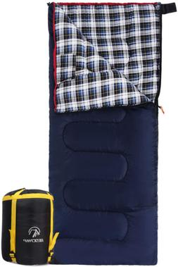 REDCAMP Cotton Flannel Sleeping Bags for Camping, 3-Season W