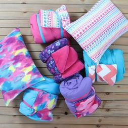 Sleeping Bag and Pillow Cover, Pink with Rainbow Stars Indoo